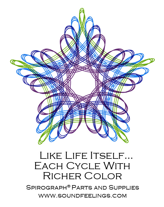 Like Life Itself... Each Cycle With Richer Color. From the new 10-color instruction booklet: Drawing with the Spirograph® Multicolor Pen. #spirograph #10colorpens http://www.soundfeelings.com/products/spirograph_pen_refills/multicolor_booklet.htm