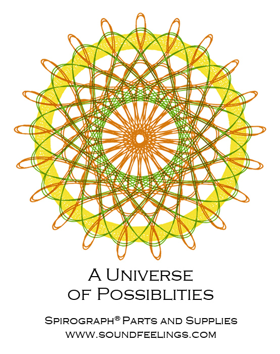 A Universe of Possiblities. From the new 10-color instruction booklet: Drawing with the Spirograph® Multicolor Pen. #spirograph #10colorpens http://www.soundfeelings.com/products/spirograph_pen_refills/multicolor_booklet.htm